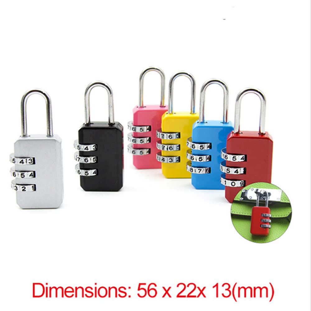 New Resettable 3 Dial Digit Combination Suitcase Luggage Password Code Lock Padlock Travel Bags Security Lock Girl Like