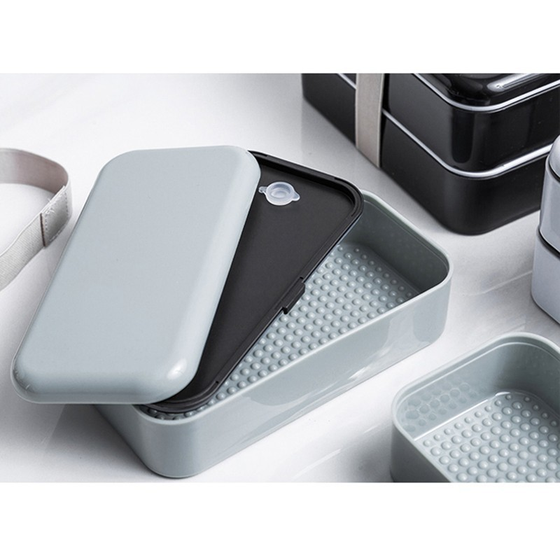 New Double Insulated Plastic Lunchbox Kitchen Flatware Food Container Bento Box Microwave Heating Lunch Dinnerware in Lunch Boxes from Home Garden
