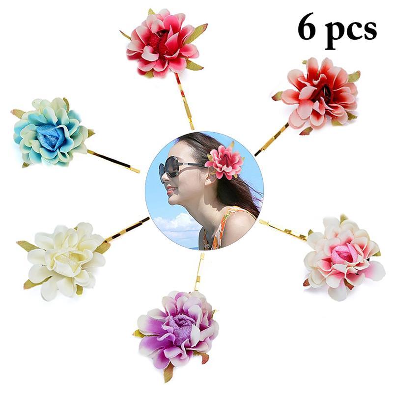 6PCS Bohemian Fabric Small Flower Hairpin Clips Beach Vacation Hair Accessories Hawaiian Party Decoration