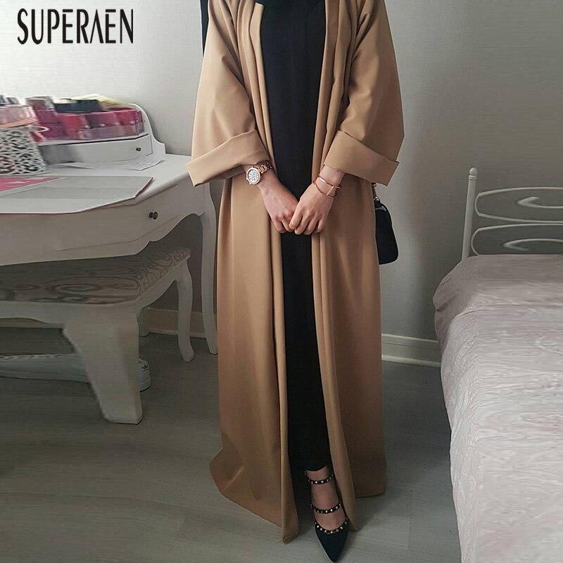 SuperAen 2019 Европа пальто для женщин новый сезон весна лето Повседневная Женская Длинная ветровка сплошной цвет Женская одежда