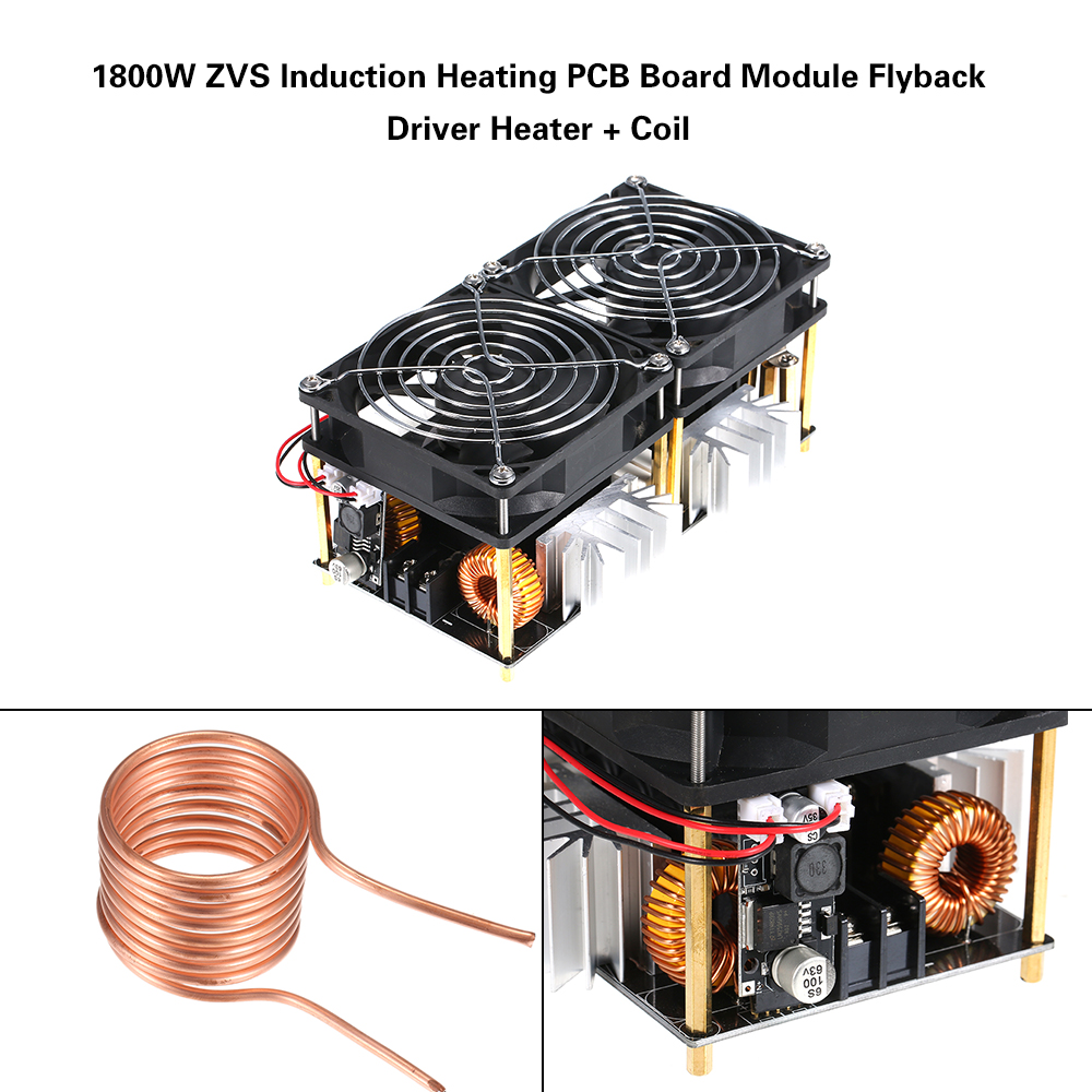 1800W 40A 12V 48V ZVS Induction Heating Board Module DIY Flyback Driver Heater Good Heat Dissipation