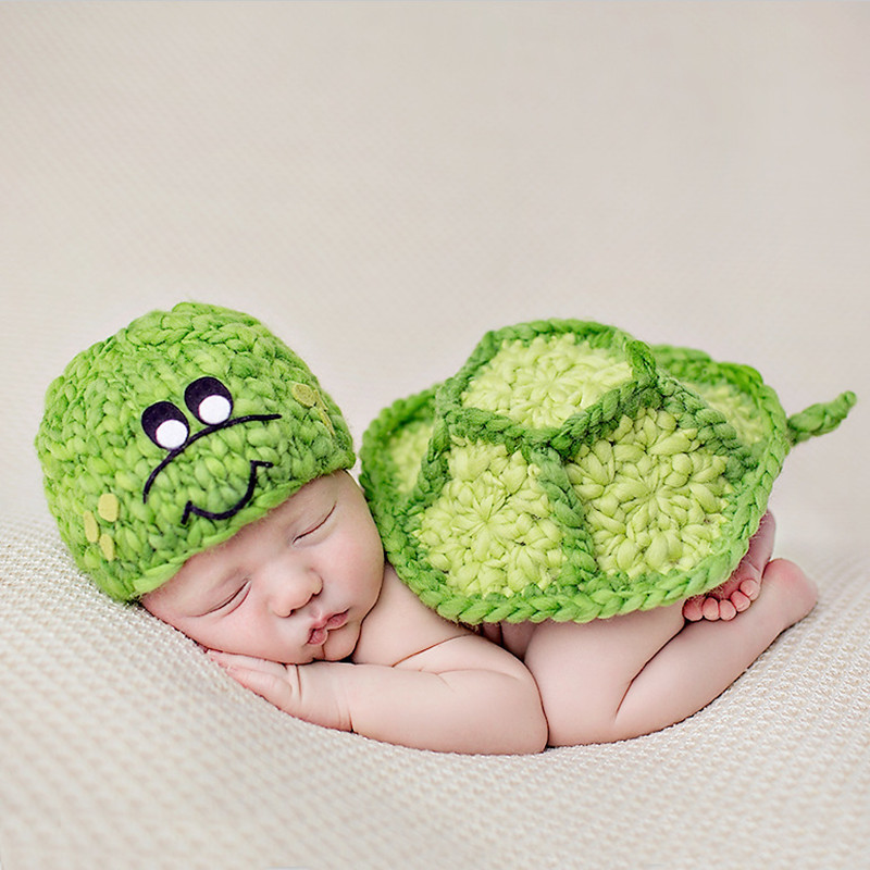 Newborn Photography Props Turtle Baby Clothes Baby Photo Props Baby Knit Hat Costume Photography Outfits Fotografia Accessories