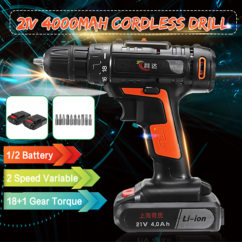 21V Cordless Electric Screwdriver Drill Driver 1300RPM 2 Speed 18 Gear w/ Li-ion Rechargeable Battery with LED Torch 18 Torque21V Cordless Electric Screwdriver Drill Driver 1300RPM 2 Speed 18 Gear w/ Li-ion Rechargeable Battery with LED Torch 18 Torque