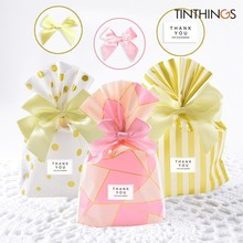 10 PCS Gift Bag With Ribbon Bows Wedding Party Favor Cookie Candy Birthday Pink Easter Small Bags Packaging Plastic Opp