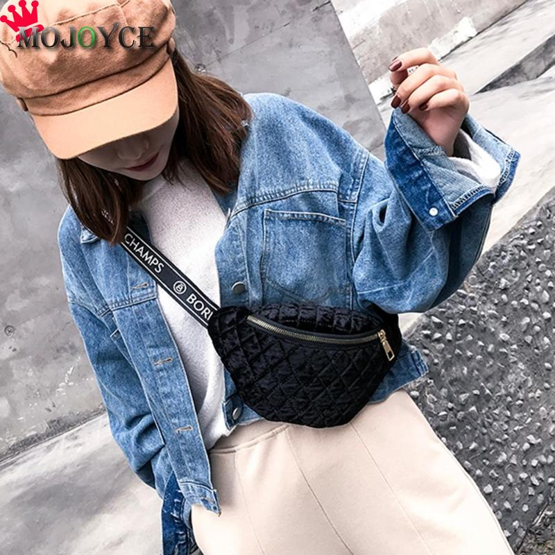 Women's Fanny Waist Pack Belt Girl School Chest Bags For Women 2019 PU Velvet Lattice Fanny Pack Handbags Shopping Travel Bag