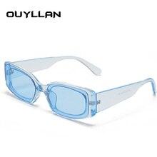 Oulylan Vintage Rectangle Sunglasses Men Women Trendy Candy