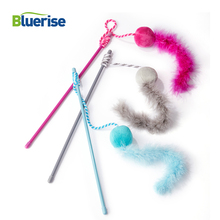 BLUERISE Cat Toy  Newly Design Fluff ball feathers Pet High Quality Teaser Durable Hand Lever Funny Long Size Plush