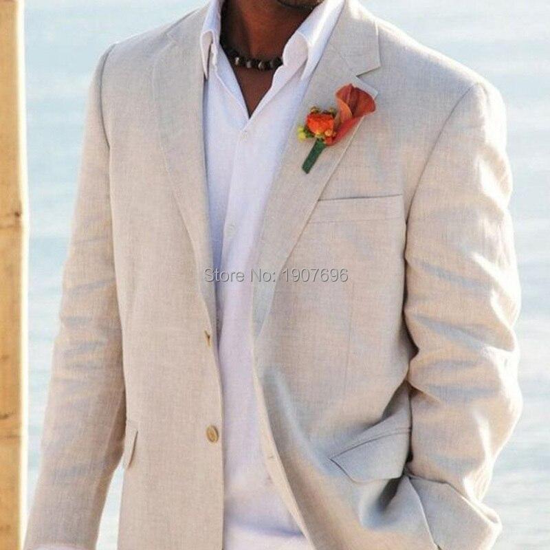 Erkek Kıyafeti'ten T. Elbise'de Açık Bej Keten Takım Elbise Erkekler için Plaj Düğün Custom Made 2 Parça Ceket Pantolon ısmarlama takım Damat Smokin Erkekler Moda 2019'da  Grup 1