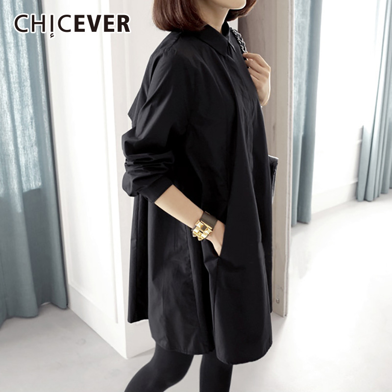 CHICEVER 2019 Spring Women Tops And   Blouses     Shirts   Lapel Long Sleeve Loose Plus Sizes Casual   Blouse   Fashion Clothes Tide