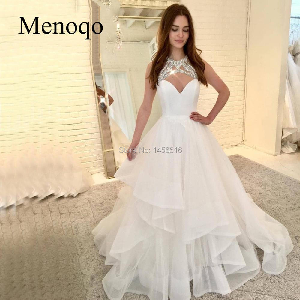 Bling White Princess Wedding Gowns 2020 Ruffled Organza Draped Puffy Bride Dresses A-line Boho Wedding Dresses