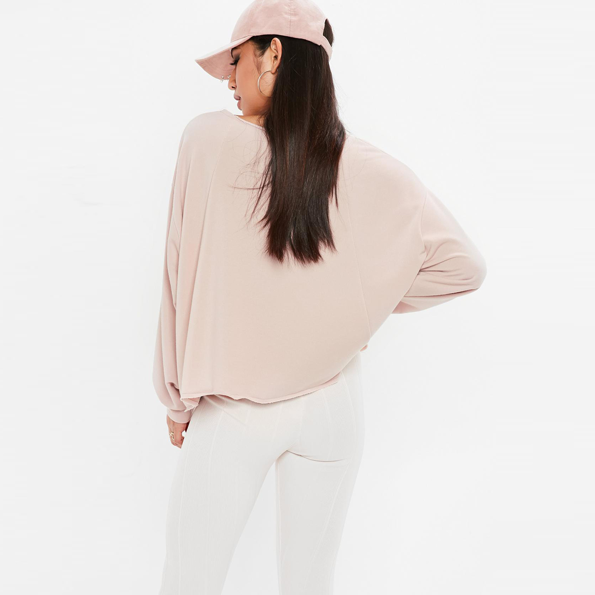 HDY Haoduoyi Sports And Leisure Street Wind Oversized Not Locked Design Light Pink Round Neck Sweatshirts in Hoodies amp Sweatshirts from Women 39 s Clothing