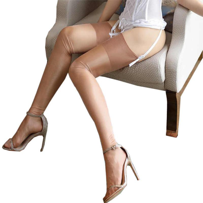 c42110036 2018 Women Sexy Retro Nylon Stockings Female Oil Flashing Long Thigh High  Stocking Vintage Shiny Medias