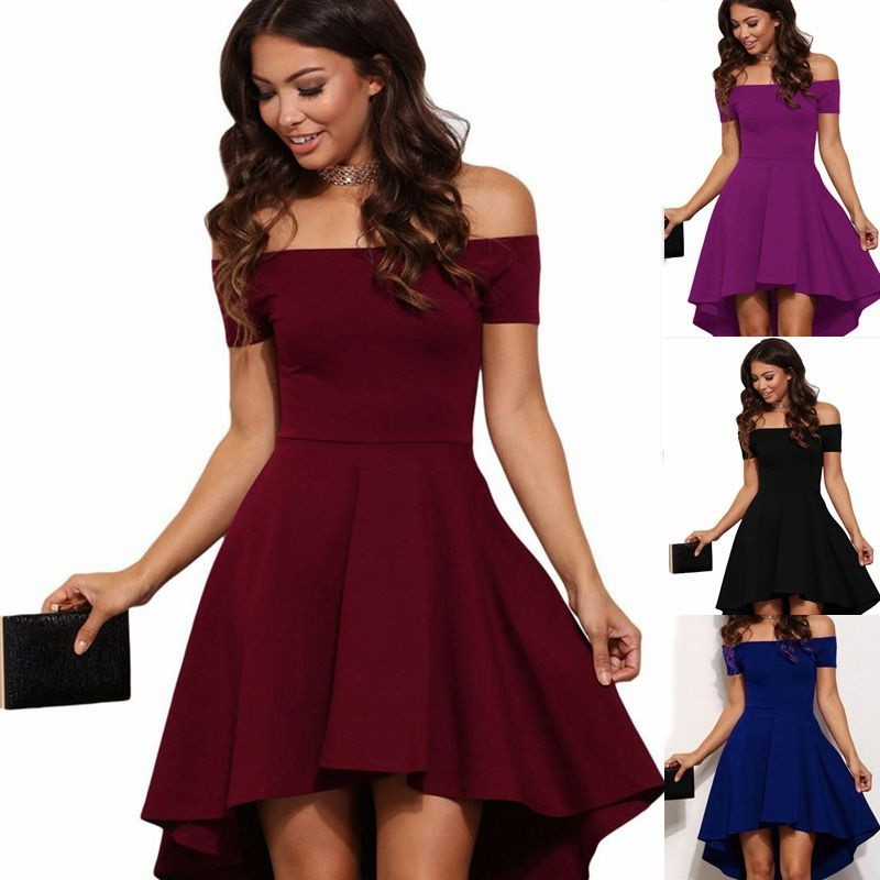Womens Off The Shoulder Short Sleeve High Low Cocktail Dresses 2020 Hot Sale Cheap In Stock Party Dress Multi Color