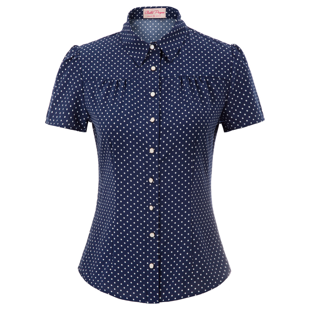 tops summer   shirt   Women office work wear Retro Vintage Polka Dots Short Sleeve tuen-down Collar Curved Hem ladies   blouse     Shirts