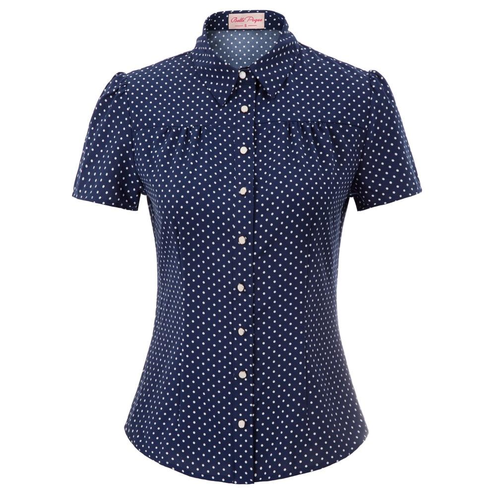 tops summer shirt Women office work wear Retro Vintage Polka Dots Short Sleeve tuen-down Collar Curved Hem ladies blouse Shirts