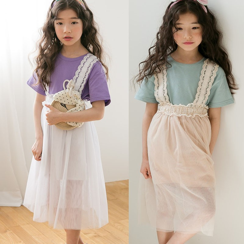 Lace Patchwork Kids Girl Skirts Tulle White Khaki Suspender Teenage School Girl Skirt Mid Calf Length Summer Spring Autumn 2019