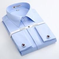 Mens French Cuff Dress Shirt Long Sleeve Non Iron Solid Twill Elegant Tuxedo Shirts with Cufflinks Male Wedding Shirt