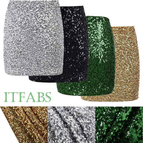 f86652789a66 Retro Hot Women Short or Long Sequin Skirt Stretch Bodycon Sparkle Mini  Skirt Night Out Party