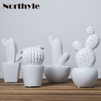 Cute white ceramic cactus decoration xmas figurines porcelain miniature art craft for home ornament accessories gift for kids