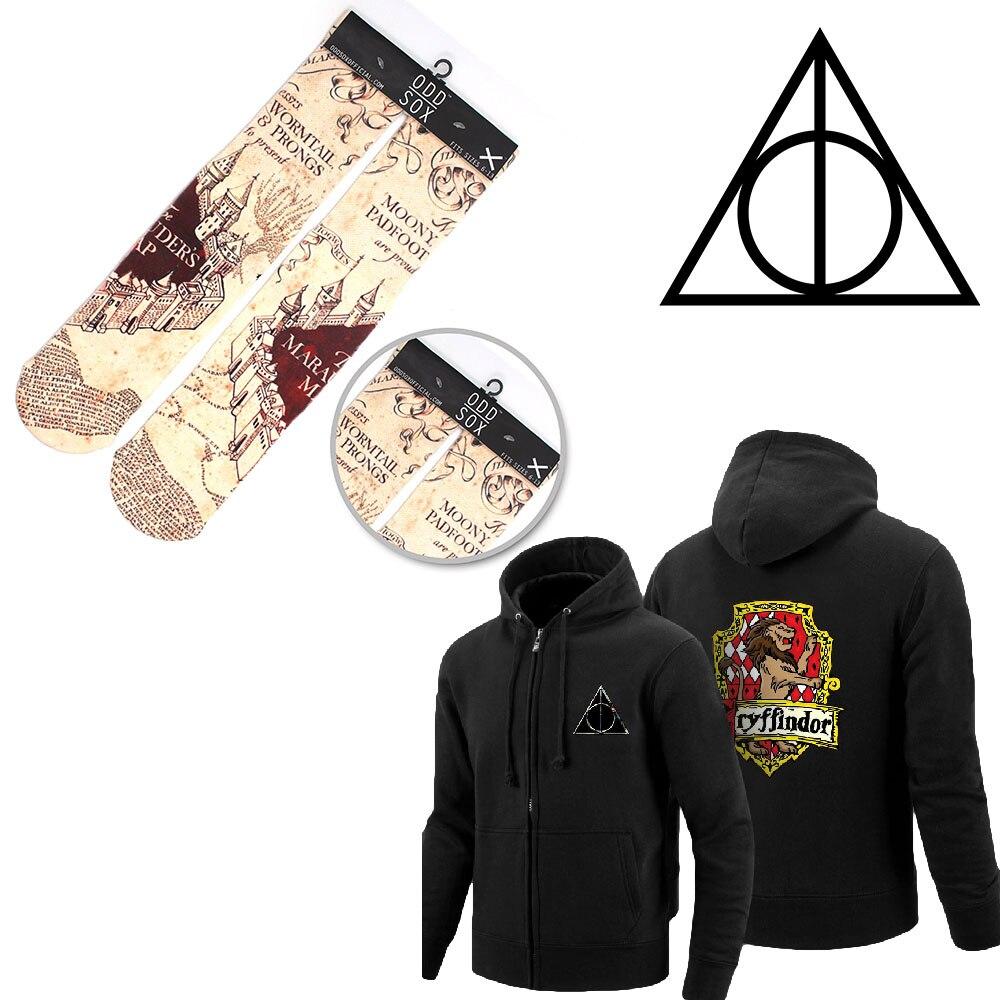 OHCOMICS 2PCS Hot Harri Potter HP Harry Gryffindor/Hufflepuff/Ravenclaw/Slytherin Hoodies+Socks Stockings Costume Clothing Sets