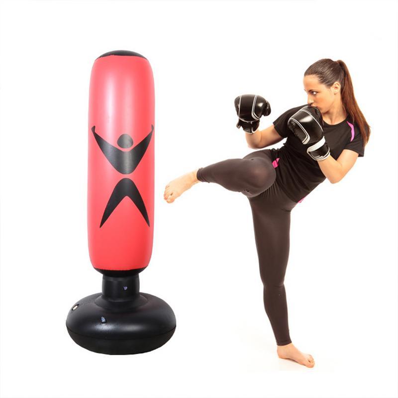 160 cm Boxe Saco De Pancadas Inflável Bounce Livre-Suporte de Copo de Treinamento de Muay Thai de Alívio de Pressão Para Trás Engrossar Saco De Areia Tumbler