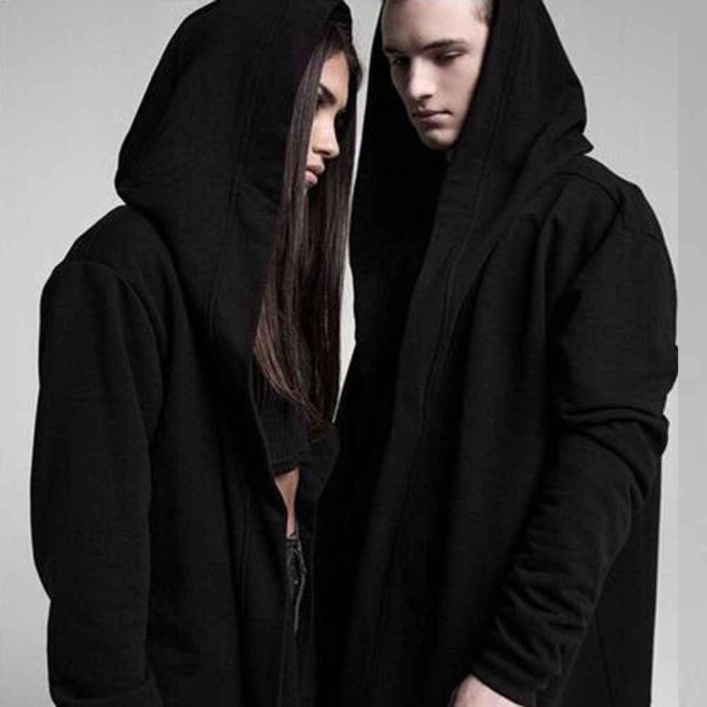 새로운 패션 여성 남성 유니섹스 고딕 아웃웨어 후드 코트 블랙 롱 자켓 따뜻한 캐주얼 망토 케이프 후드 가디건 탑스 의류