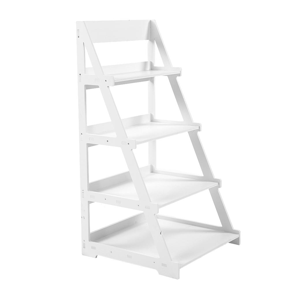 4-Tier Wood Plastic Rack Storage Shelf Fashionable Ladder Type Plant Stand Home Furniture High Quality