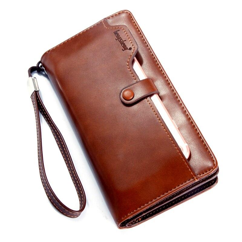 Fermeture éclair coque de téléphone portefeuilles hommes vintage marron sac PU cuir affaires pochette longue portefeuille pour homme porte carte billetera hombre