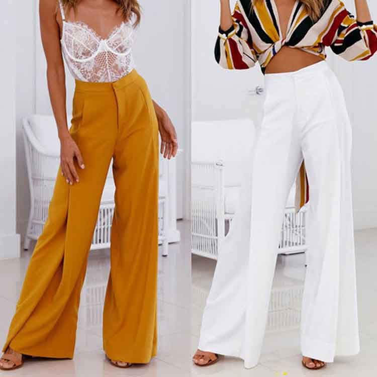 Fashion 2019 Spring Summer Women High Waist Trousers Casual Solid   Wide     Leg     Pants   Loose Fashion Flare   Pants