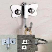 Clothes Hat Hanger Single Hook Wall Mounted Towel Silver Rack Organizer