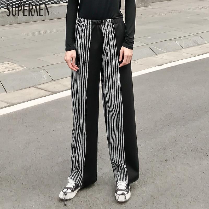 Fashion Waist Elastic And Pants New Superaen Autumn Female Leg Loose Black Wide Casual Winter 2018 Ladies Long Zxwqvf6