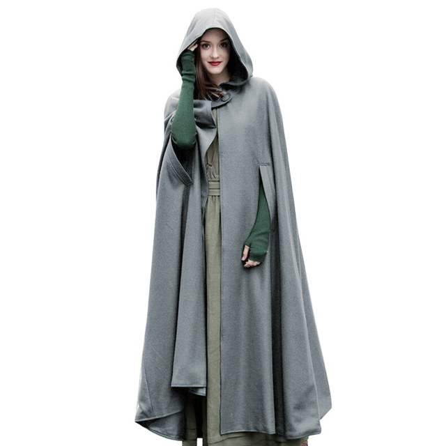 ae9af18aaf7 Plus size poncho Casual Women Winter Cloak Hooded Sleeveless Button Closure  Long Cape Costume Cosplay Outerwear