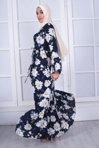 Image 4 - Elegante Muslimischen Abaya Drucken Floral Kleid Frauen Strickjacke Lange Kleid Dubai Jubah Ramadan Thobe Islamische Verehrung Gebet Kleidung