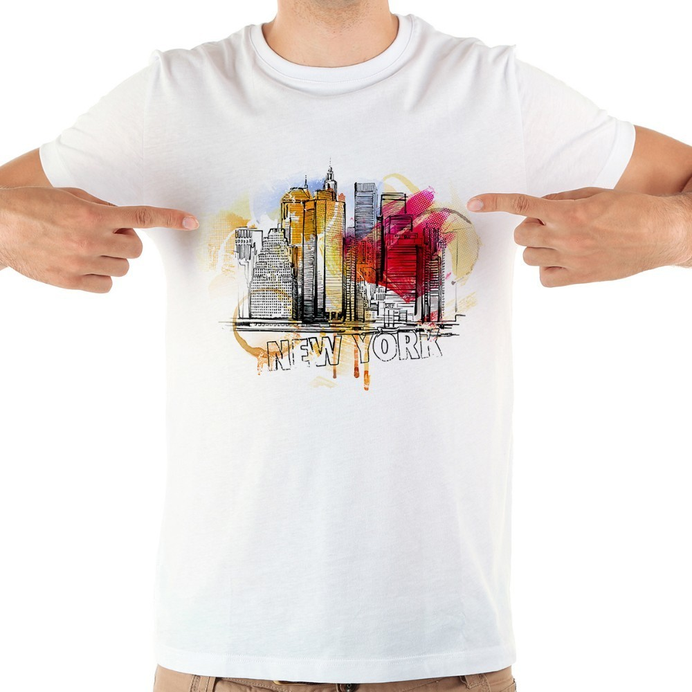 American famous city new york Miami Los Angeles watercolor landmarks funny t shirt men summer new white casual homme tshirt