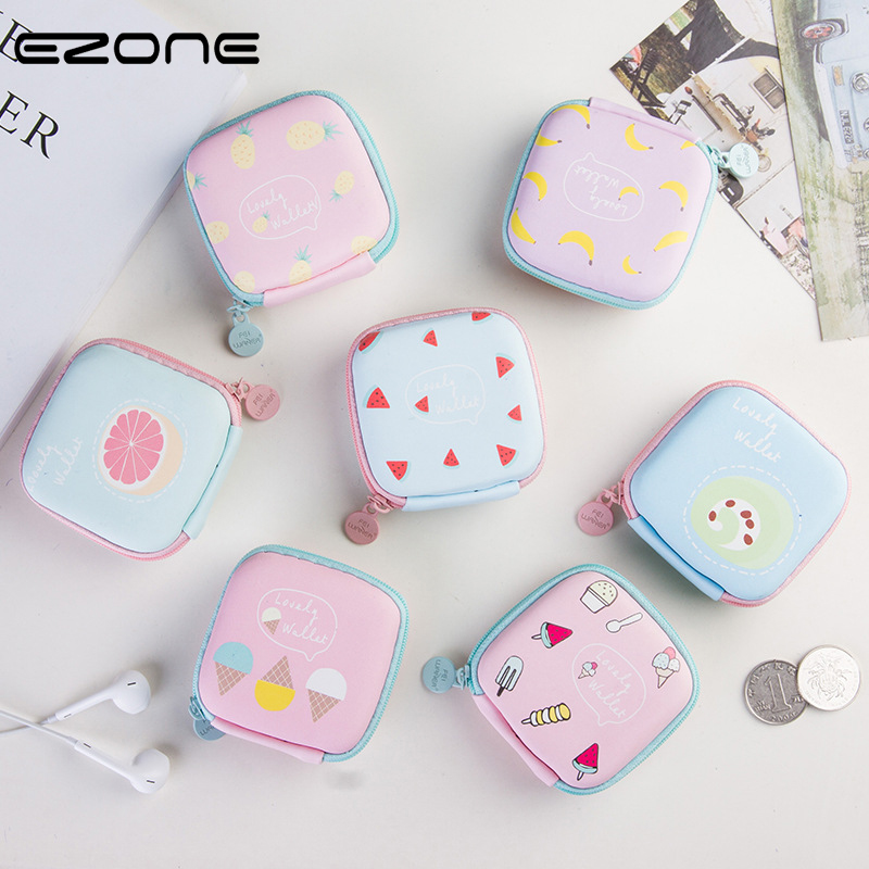 EZONE Stationery Storage Box Kawaii Ice Cream Pineapple Printed Earphone Storage Box Pill Box Office School Supoply Color Random