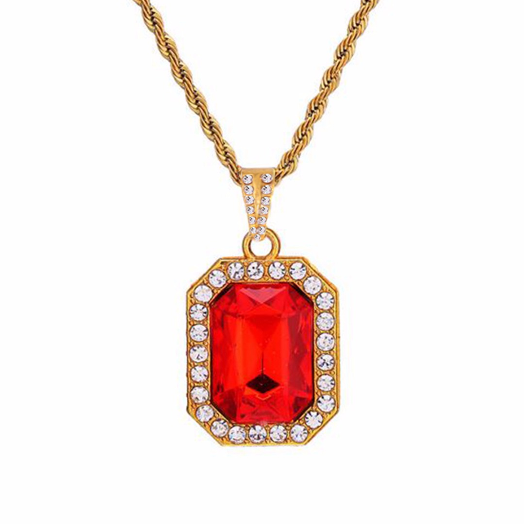 Shellhard Unisex Small Square Crystal Pendant Necklace For Men/Women Bling Rhinestone Gold...