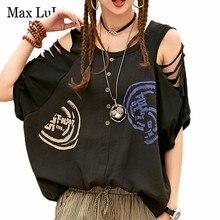 60340205462c59 Max LuLu 2019 lato koreański mody markowe ubrania damskie Casual Sexy topy  kobiety Harjuku koszule Off
