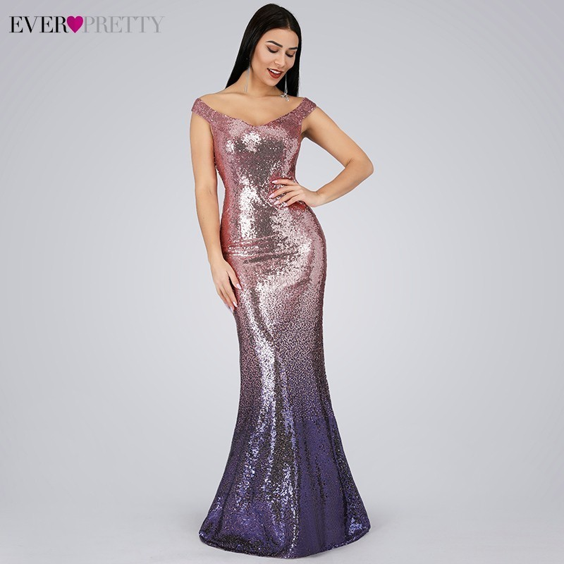 Sexy   Prom     Dresses   Ever Pretty V-Neck Mermaid Sleeveless Sequined Spaghetti Strap EB29998 Gowns for Party Vestidos de Gala 2019