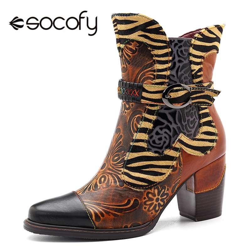 Socofy rétro imprimé Cowgirl bottines femmes hiver Patchwork crin de cheval en cuir véritable femmes bottes chaussures femme fermeture éclair chaussons