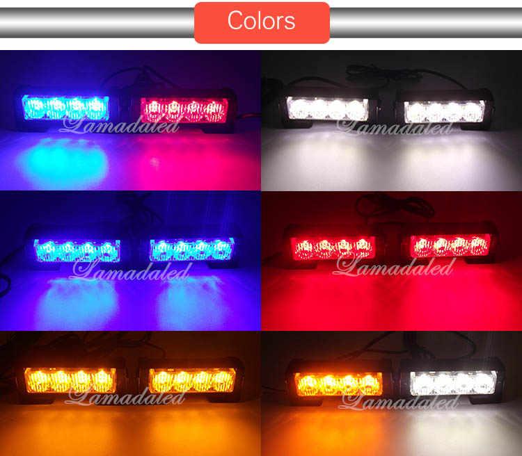 Police Led Lights >> 2pcs 11cm Split 4led Police Led Light Emergency Hazard Strobe Lights Bar Car Grill Blinking Warning Lamp Red Blue Amber White