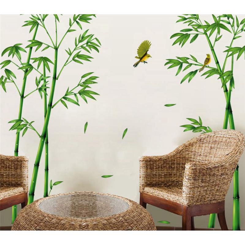 Креативная Настенная Наклейка с бамбуковым рисунком, искусственная наклейка для защиты окружающей среды, наклейка на стену для гостиной, с...