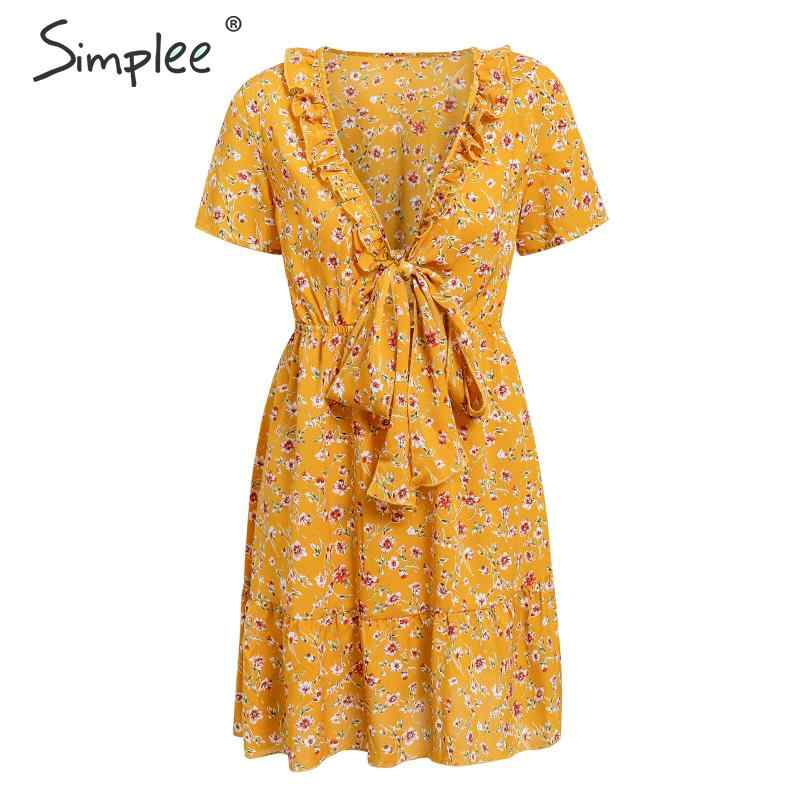 Simplee Bohemian floral print women short dress Sexy deep v-neck beach style summer sundress Elegant lace up ruffled dress 2019