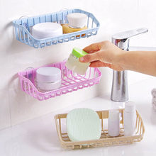 Plastic Kitchen Accessories 1 Pc Sink Shelf Double Suction Cup Sponge Drain Rack Multifunction Storage Racks(China)