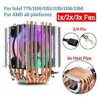 6 Copper Heatpipe CPU Cooler Fan Heatsink 3/4 Pin RGB Fan Cooler For Intel 775/1150/1151/1155/1156/1366 and AMD All Platforms
