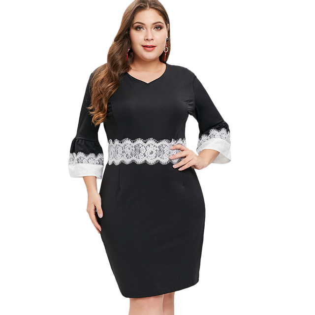Autumn Winter Women Plus Size Dress Knee-Length Slim Sheath High Waist Dress  Lace Panel Casual Office Brief Black Bodycon Dress 493ed8eb37e1
