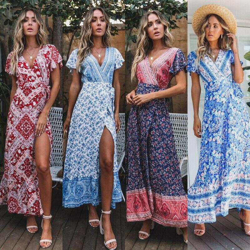 New Fashion Women Boho Floral Short Sleeve High Waist Midi Dress Summer V-Neck Beach Holiday Sundress