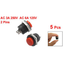 Push Button Switch 5 x Momentary SPST NO Red Round Cap AC 6A/125V 3A/250V controlling circuits for in electromagnet