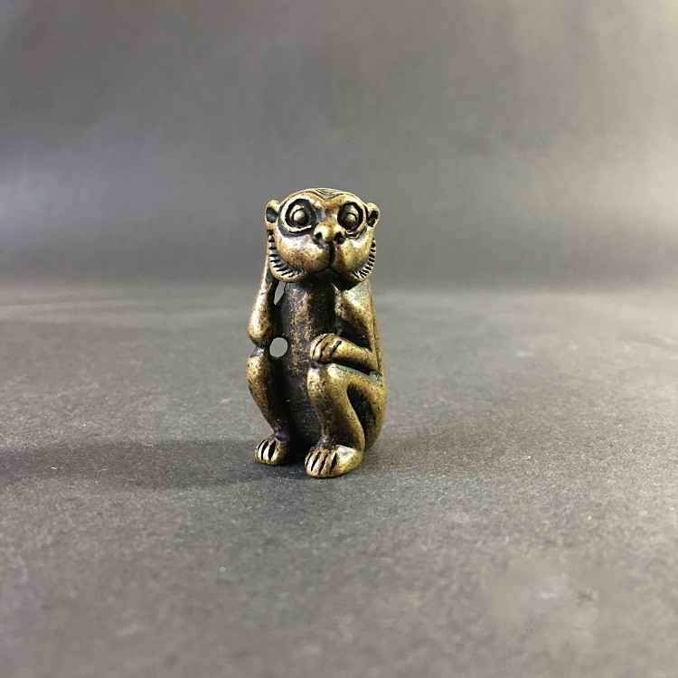 Collectable Chinese Brass Carved Animal Zodiac Lovely Sitting Monkey  Exquisite Statuel