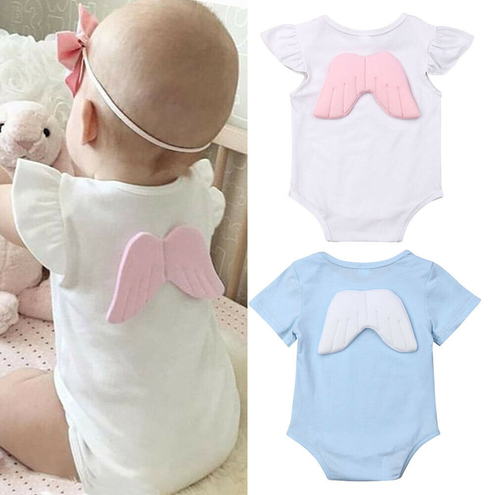 Newborn Baby Boys Girls Angel Wings   Rompers   Ruffles Sleeve One-pieces Jumpsuit Playsuit Summer Outfits Infant Cotton Clothes