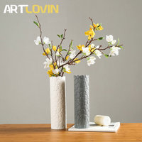 Chinese Classic Style Ceramic Vase for Home Decoration Flower Tabletop Vases White & Grey Color Pentagon Stone Design